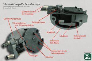 Wespenblech Bildnummer 294, Vespa, Getriebe, Schaltraste, PX, Bezeichnungen