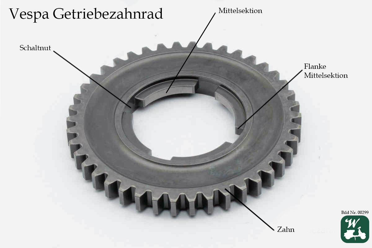 Vespa Getriebe, PX, Mittelsektion, Gangzahnrad, Flanke, Zahn, Schaltnut