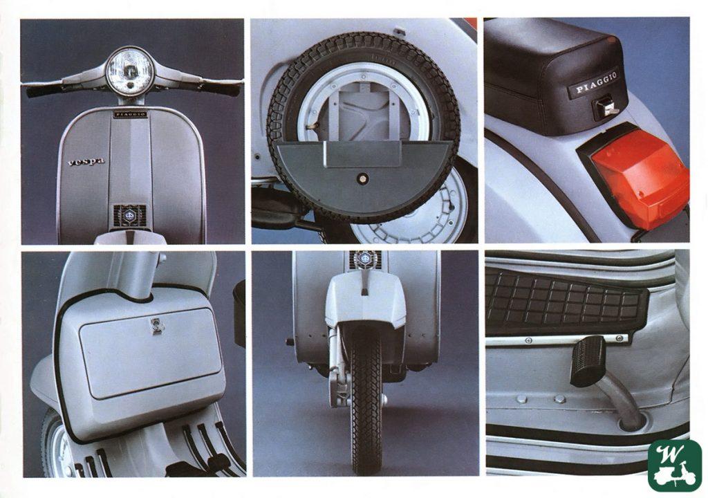 Fotostudie zum Rahmen der Vespa P200E Senza Frecce. (Foto: Piaggio ca. 1977, digital restauriert vom Wespenblech Archiv)