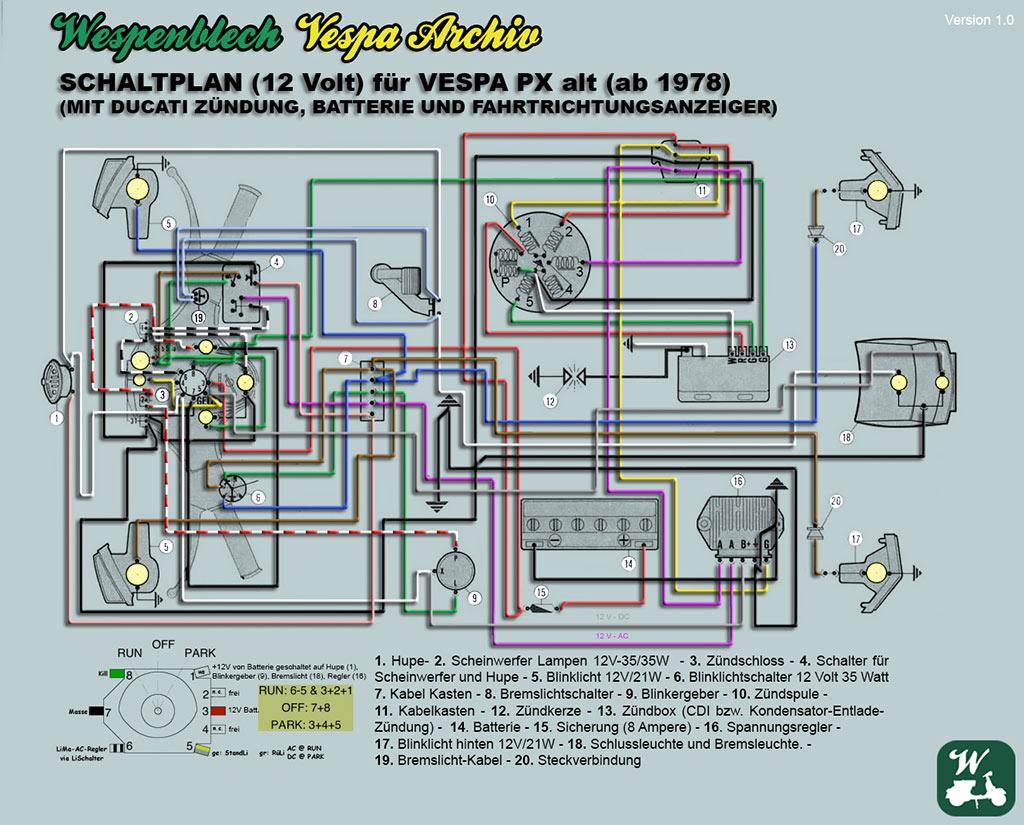 Schaltplan, Vespa, PX, alt, Ducati, Batterie, Blinker, P200E, P80X, P125X, P150X,
