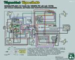 Schaltplan Vespa PX alt 12 Volt mit Batterie und Blinker