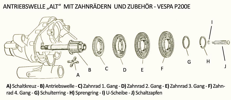 Antriebswelle PX alt Vespa Getriebe PX