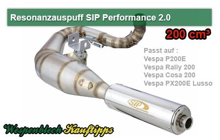 SIP, Performance, 2, Rennauspuff, Vespa 200 ccm, Edelstahl, JL