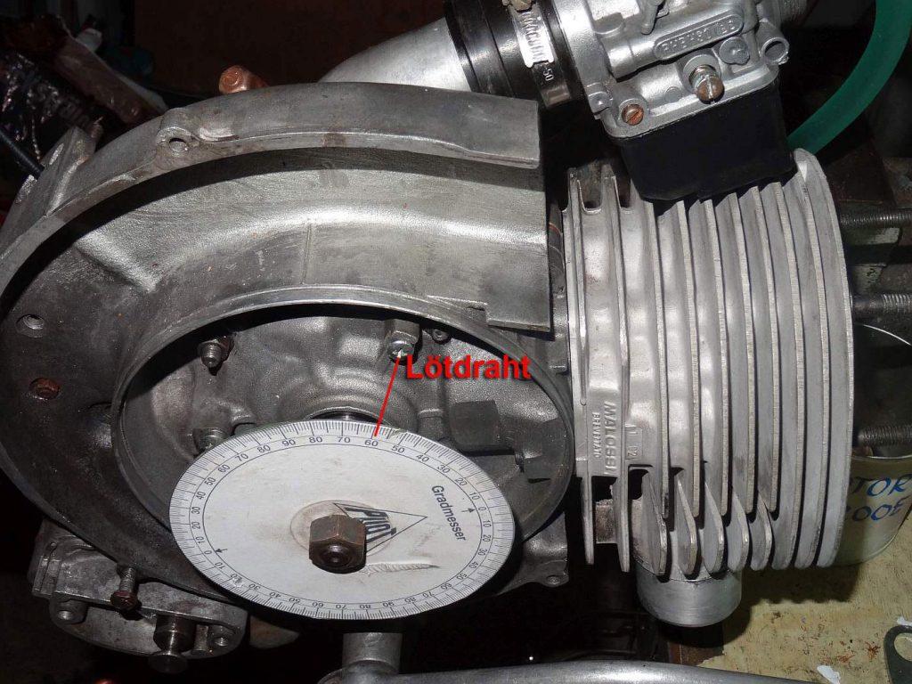 Kompressionsvolumen, auslitern, Oberer Totpunkt, Gradscheibe, Motor, Vespa, P200E