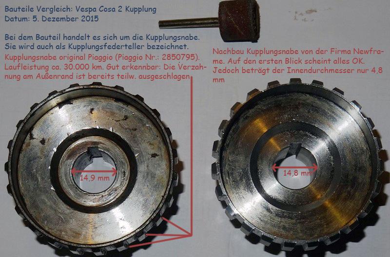 Cosa 2, Kupplung, Unterschiede, Kupplungsfederteller, Kupplungsnabe. Piaggio, Newfren