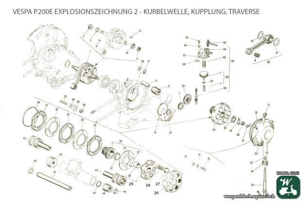 Explosionszeichnung, Vespa P200E, Kurbelwelle, Kupplung, Traverse